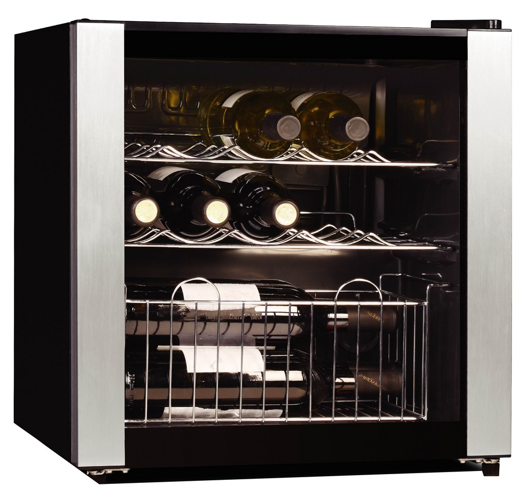wine fridge, glass refrigerator, black refrigerator